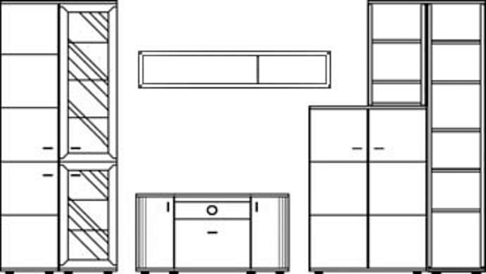 Stralsunder Wohnwand Just EB33001 5-teilig Typenbild
