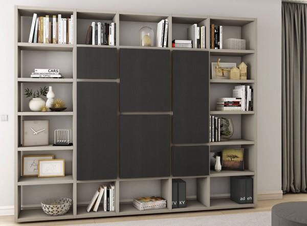 Toro Bücherregal mit Türen beige Lack / eiche schwarzbraun