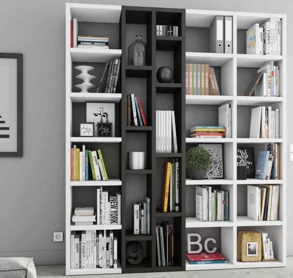 Toro Bücherregal extrem belastbar weiß Lack / eiche schwarzbraun