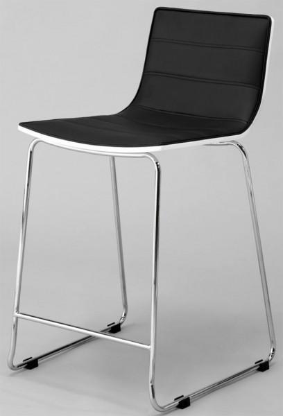 barhocker mit lehne kunstleder schwarz gestell chrom m belmeile24. Black Bedroom Furniture Sets. Home Design Ideas