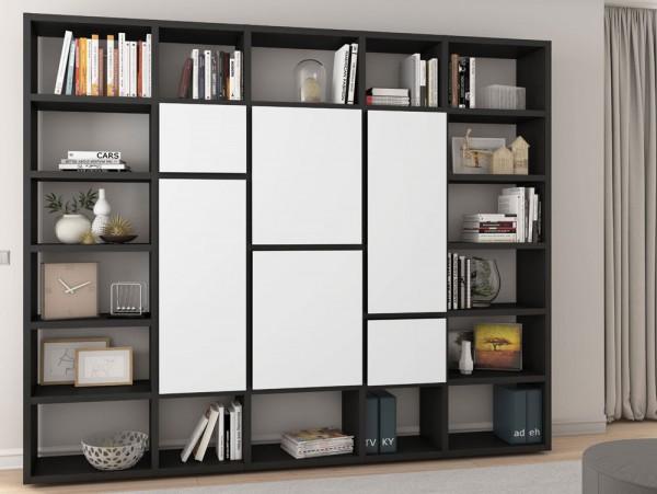 Toro Bücherregal mit Türen eiche schwarzbraun / weiß Lack