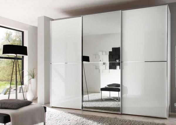 Staud Sinfonie Plus Schwebetürenschrank Glas weiß / Spiegel Höhe 222 cm