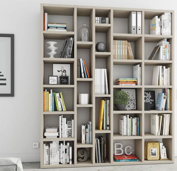 Toro Bücherregal extrem belastbar beige Lack matt