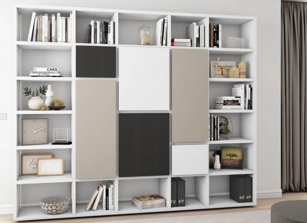 Toro Bücherregal mit Türen weiß Lack / Front multi