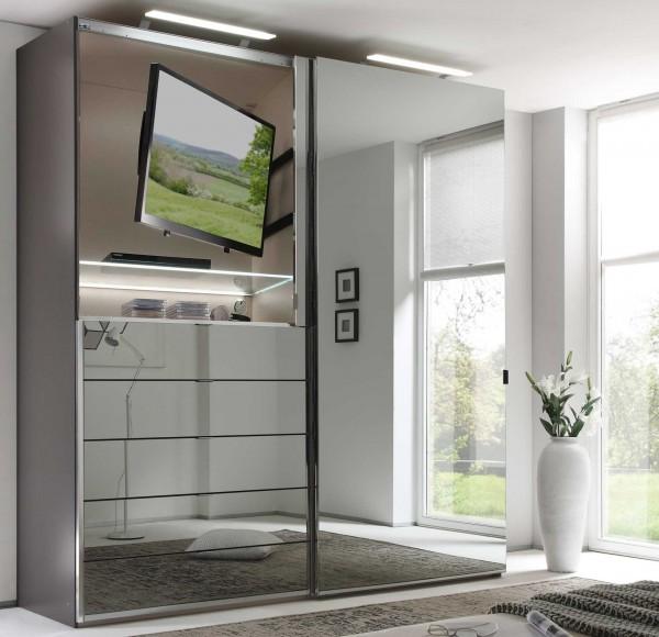 Staud Media Kleiderschrank mit TV Fach Glas viele Farben Breite 225 cm