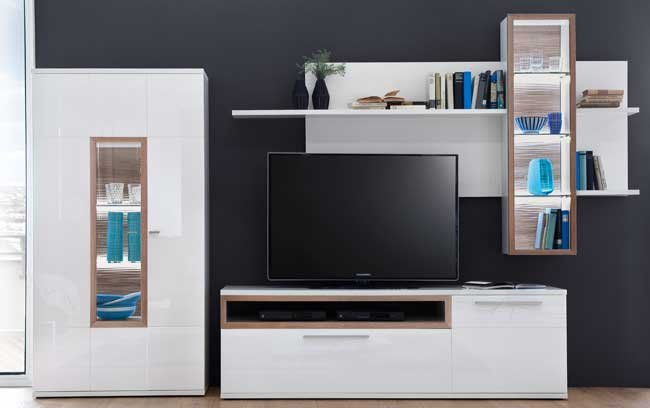 mca pamplona wohnwand wei hochglanz selbst. Black Bedroom Furniture Sets. Home Design Ideas