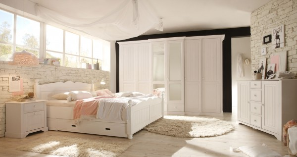schlafkontor cinderella landhaus schlafzimmer wei kiefer m belmeile24. Black Bedroom Furniture Sets. Home Design Ideas