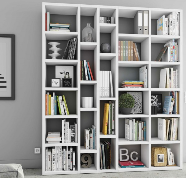Toro Bücherregal extrem belastbar weiß Hochglanz