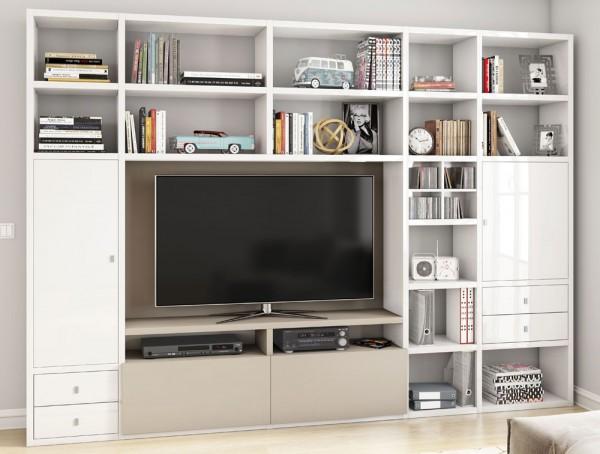 Toro 371 Wohnwand mit TV-Fach weiß Hochglanz / beige Lack