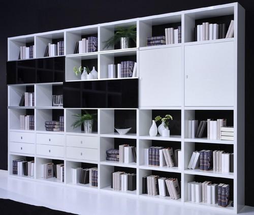 Toro Regalsystem weiß Hochglanz mit Türen und Schubladen individuell