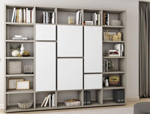 Toro Bücherregal mit Türen beige Lack / weiß Lack