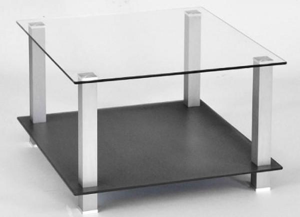 Couchtisch Glas Aluminium quadratisch
