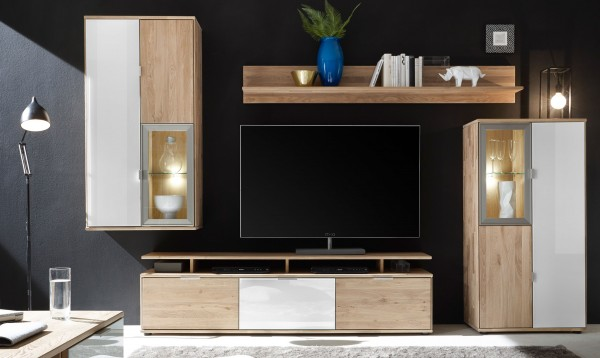 quadrato como wohnwand massiv wildeiche mit absetzung glas wei m belmeile24. Black Bedroom Furniture Sets. Home Design Ideas