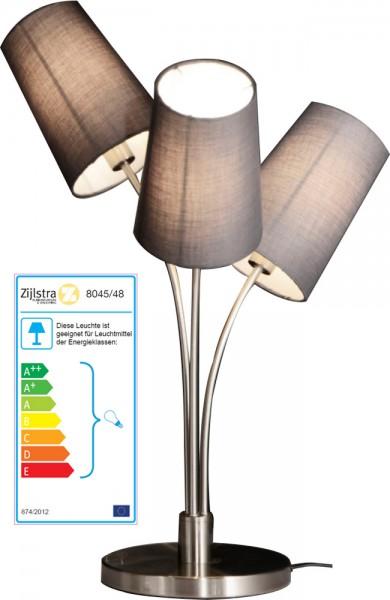 klassische Tischlampe Nickel matt mit Lampenschirmen Textil