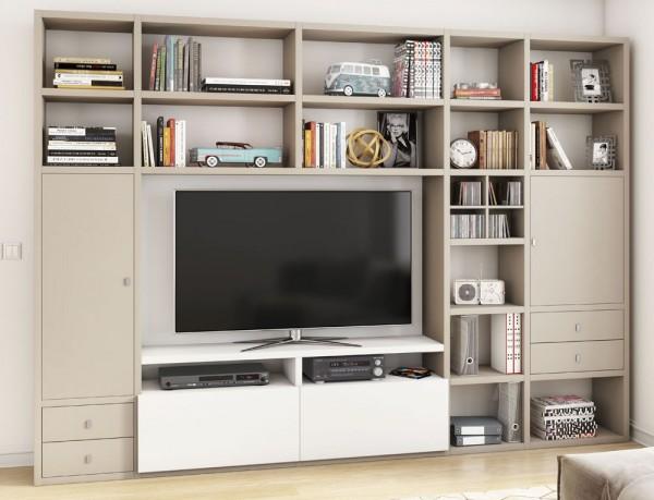 Toro 371 Wohnwand mit TV-Fach beige Lack / weiß Lack