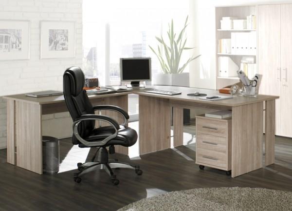 SATURN 4-teilige Büro-Winkelkombination in Dekor Sonoma-Eiche Nachbildung