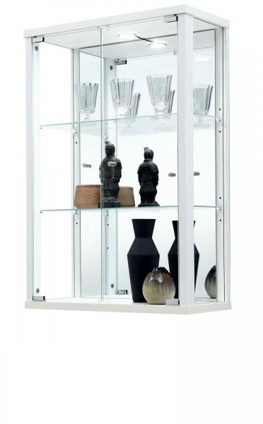 Hängevitrine mit Spiegel und Beleuchtung weiß schwarz silber
