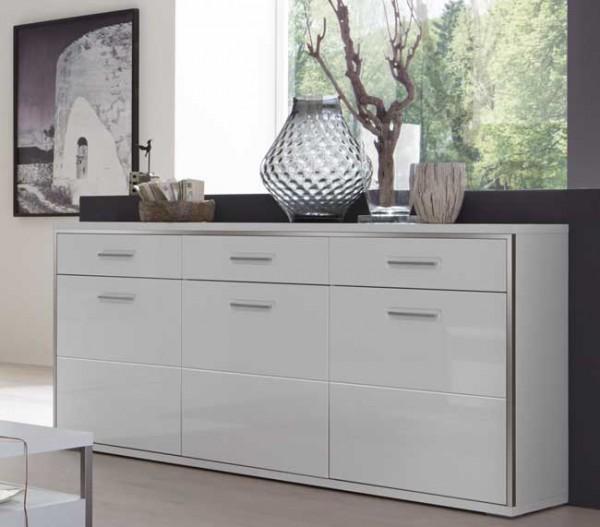 MCA Trento Sidebord weiß Hochglanz mit Türen und Schubladen