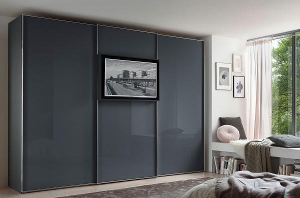 Staud Media Flat Kleiderschrank mit TV Aufsatz Glas in vielen Farben