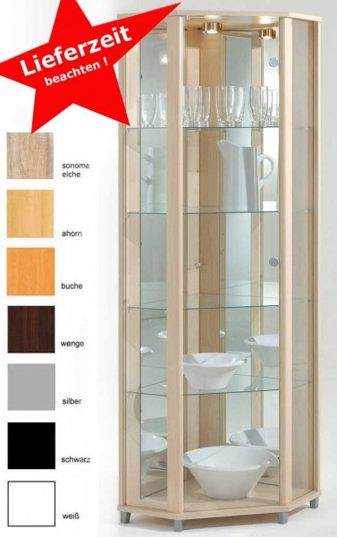 Eckvitrine mit Beleuchtung und Spiegel in vielen Farben