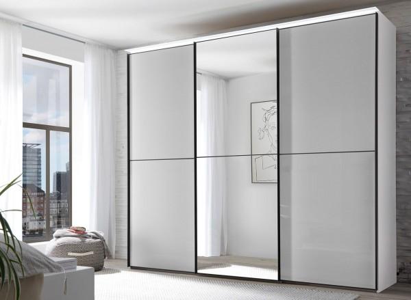 Staud Satino Linea Schwebetürenschrank Mattglas mit Spiegel Höhe 240 cm