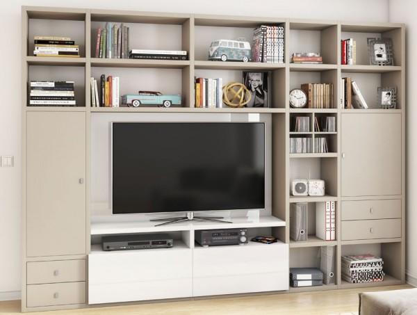 Toro 371 Wohnwand mit TV-Fach beige Lack / weiß Hochglanz