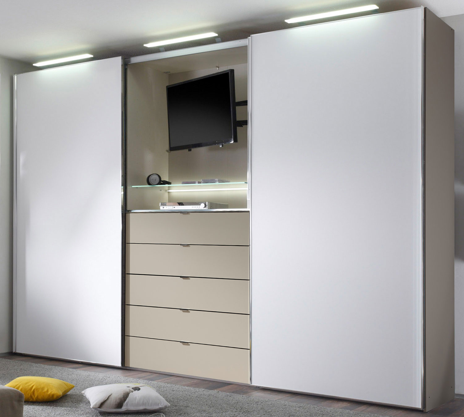staud media light kleiderschrank mit tv fach viele farben m belmeile24. Black Bedroom Furniture Sets. Home Design Ideas