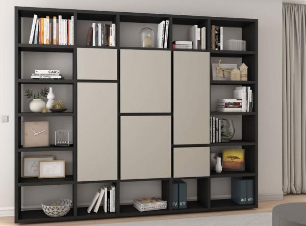 Toro Bücherregal mit Türen eiche schwarzbraun / beige Lack