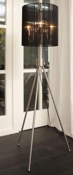 moderne Stehlampe Edelstahl höhenverstellbar Lampenschirm schwarz