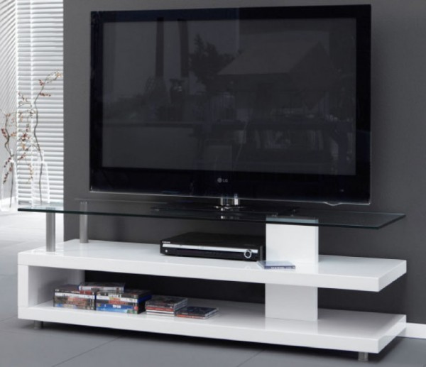 TV Unterschrank weiß Hochglanz mit Glasplatte