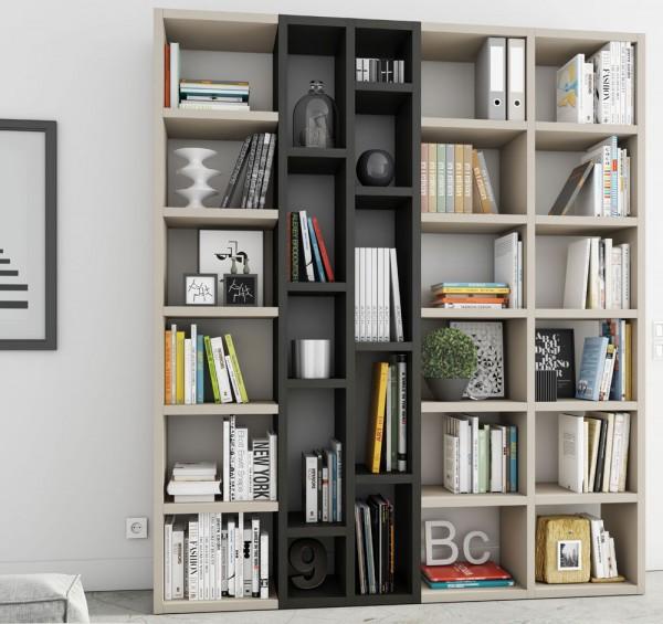 Toro Bücherregal extrem belastbar beige Lack / eiche schwarzbraun