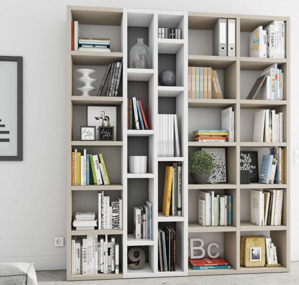Toro Bücherregal extrem belastbar beige Lack / weiß Lack