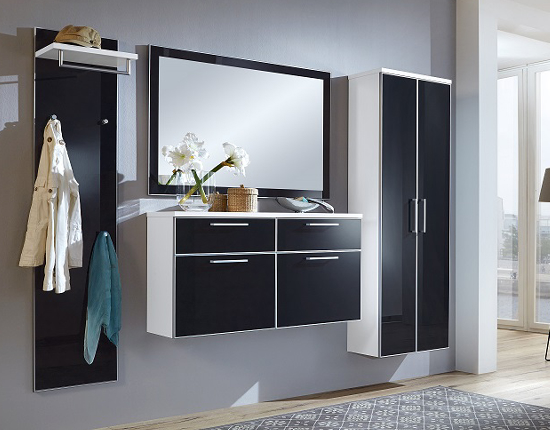 garderobe ventina wei front glas anthrazit von voss m belmeile24. Black Bedroom Furniture Sets. Home Design Ideas