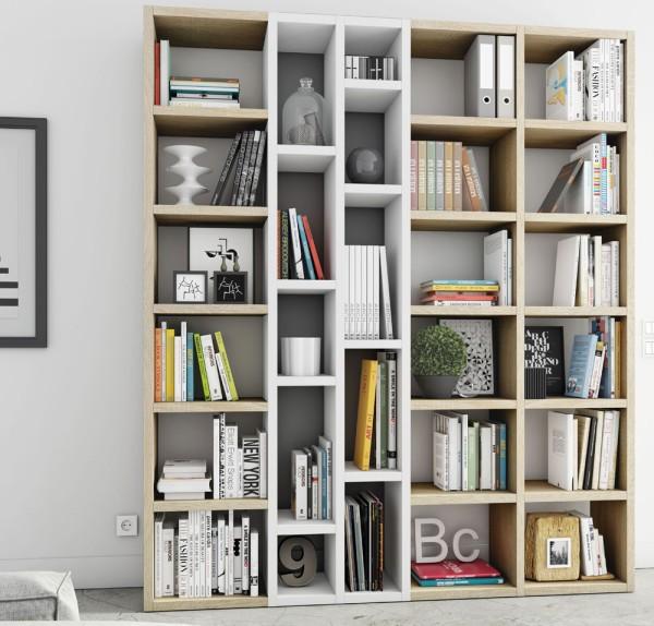 Toro Bücherregal extrem belastbar eiche sonoma / weiß Lack