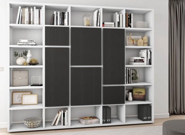 Toro Bücherregal mit Türen weiß Lack / eiche schwarzbraun