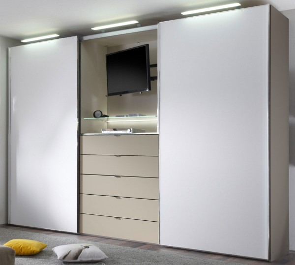 staud media light kleiderschrank mit tv fach viele farben. Black Bedroom Furniture Sets. Home Design Ideas