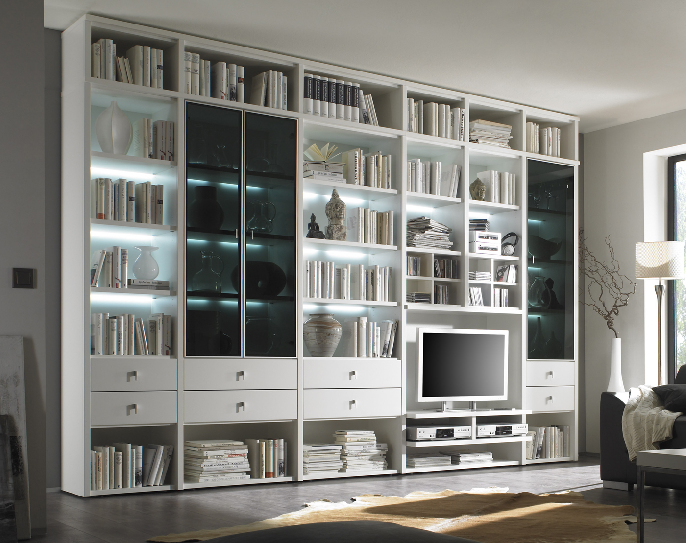 wohnwand b cherregal studio individuell planbar m belmeile24. Black Bedroom Furniture Sets. Home Design Ideas