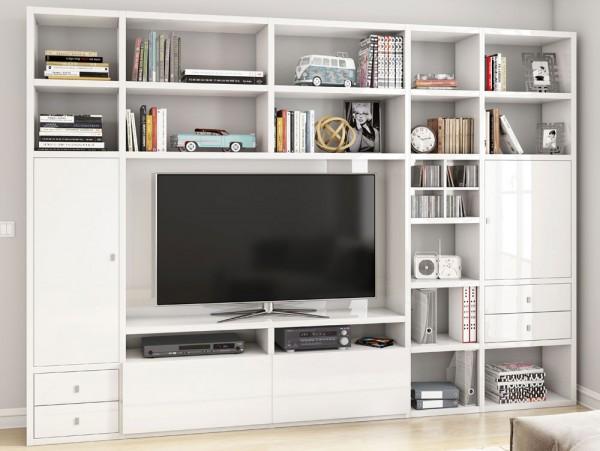 Toro 371 Wohnwand mit TV-Fach weiß Hochglanz