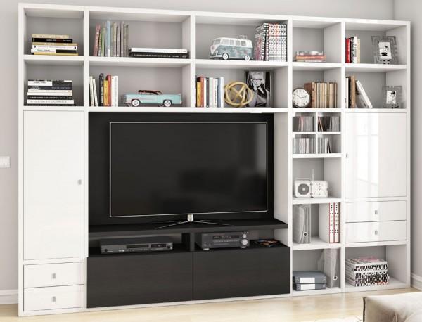 Toro 371 Wohnwand mit TV-Fach weiß Hochglanz / eiche schwarzbraun