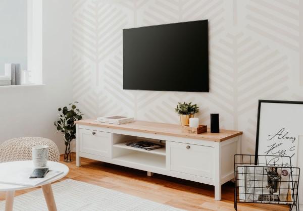 Bergen TV Lowboard weiß 160 cm mit Schubkästen im Landhaus Stil