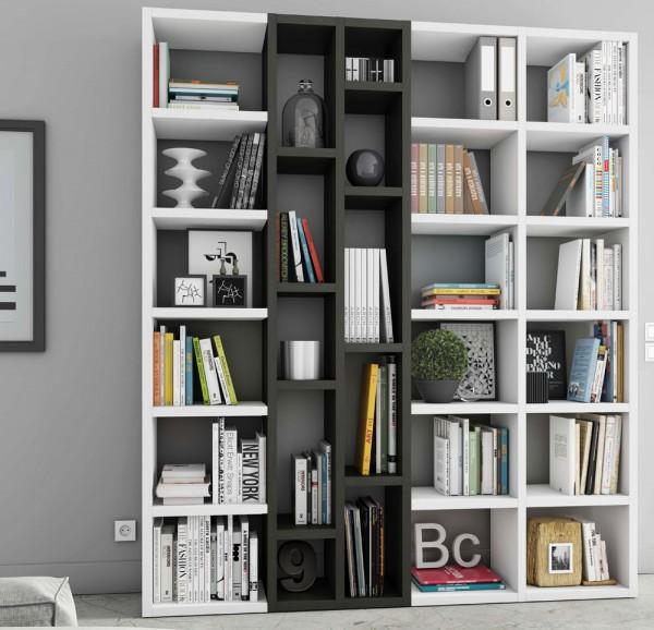 Toro Bücherregal extrem belastbar weiß Hochglanz / eiche schwarzbraun
