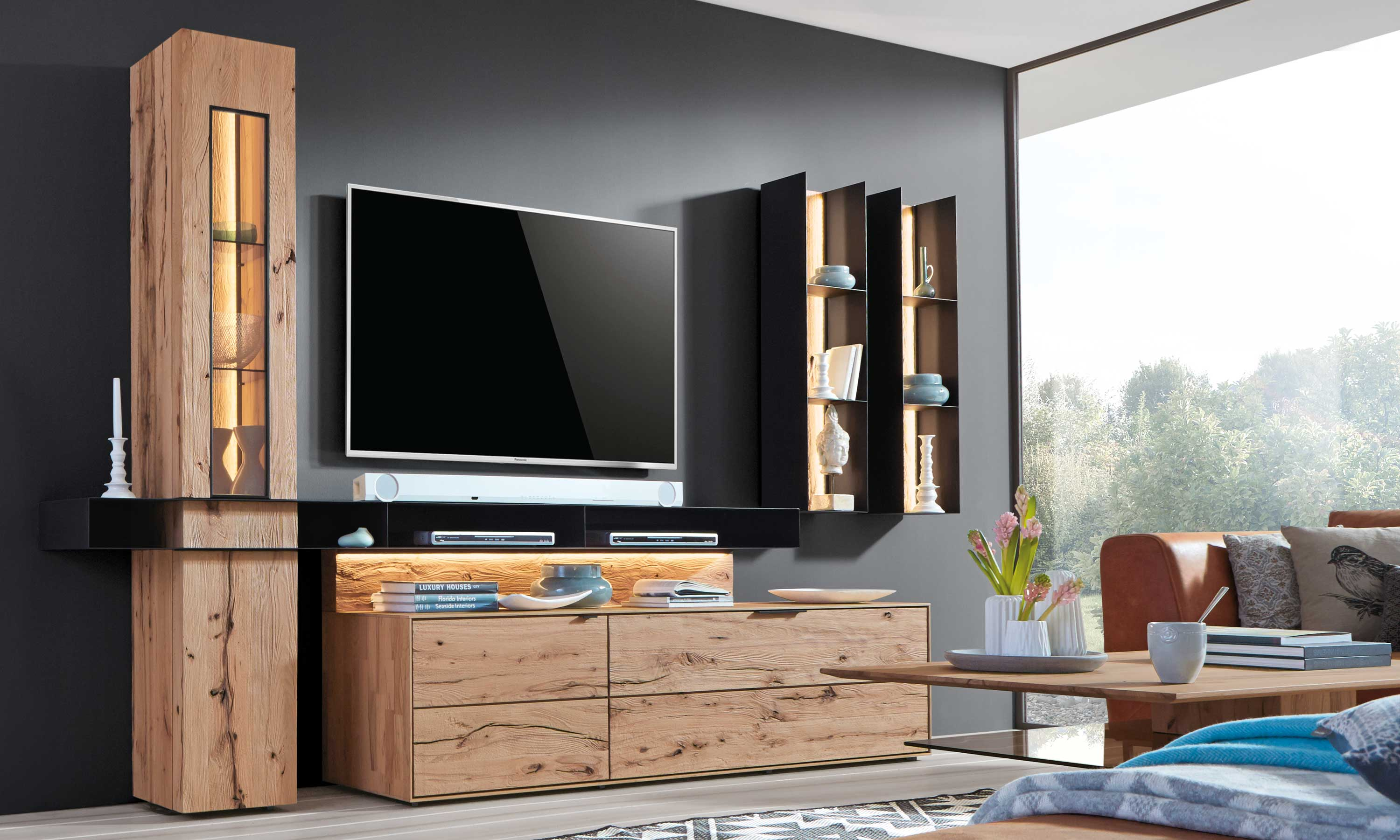 hartmann talis massivholz wohnwand riffbuche individuell. Black Bedroom Furniture Sets. Home Design Ideas