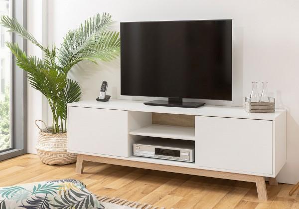 Apart TV Lowboard mit Türen weiß / eiche sonoma