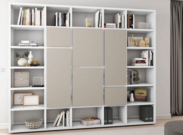 Toro Bücherregal Mit Türen Weiß Hochglanz Beige Matt