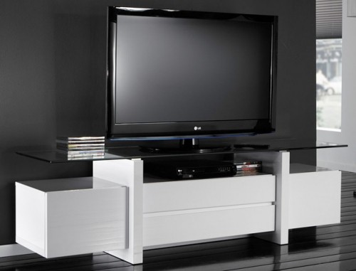 fernsehtisch wei hochglanz glas mit schubladen und t ren m belmeile24. Black Bedroom Furniture Sets. Home Design Ideas
