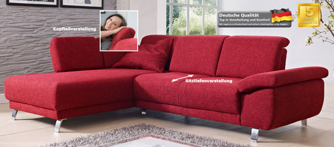 dietsch time sofa mit recamiere sitztiefenverstellung bezug w hlbar m belmeile24. Black Bedroom Furniture Sets. Home Design Ideas