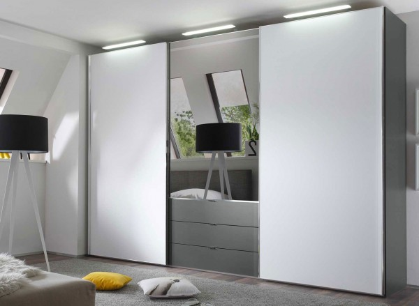 staud media light tv kleiderschrank mit schubk sten u spiegel breite 336 cm m belmeile24. Black Bedroom Furniture Sets. Home Design Ideas