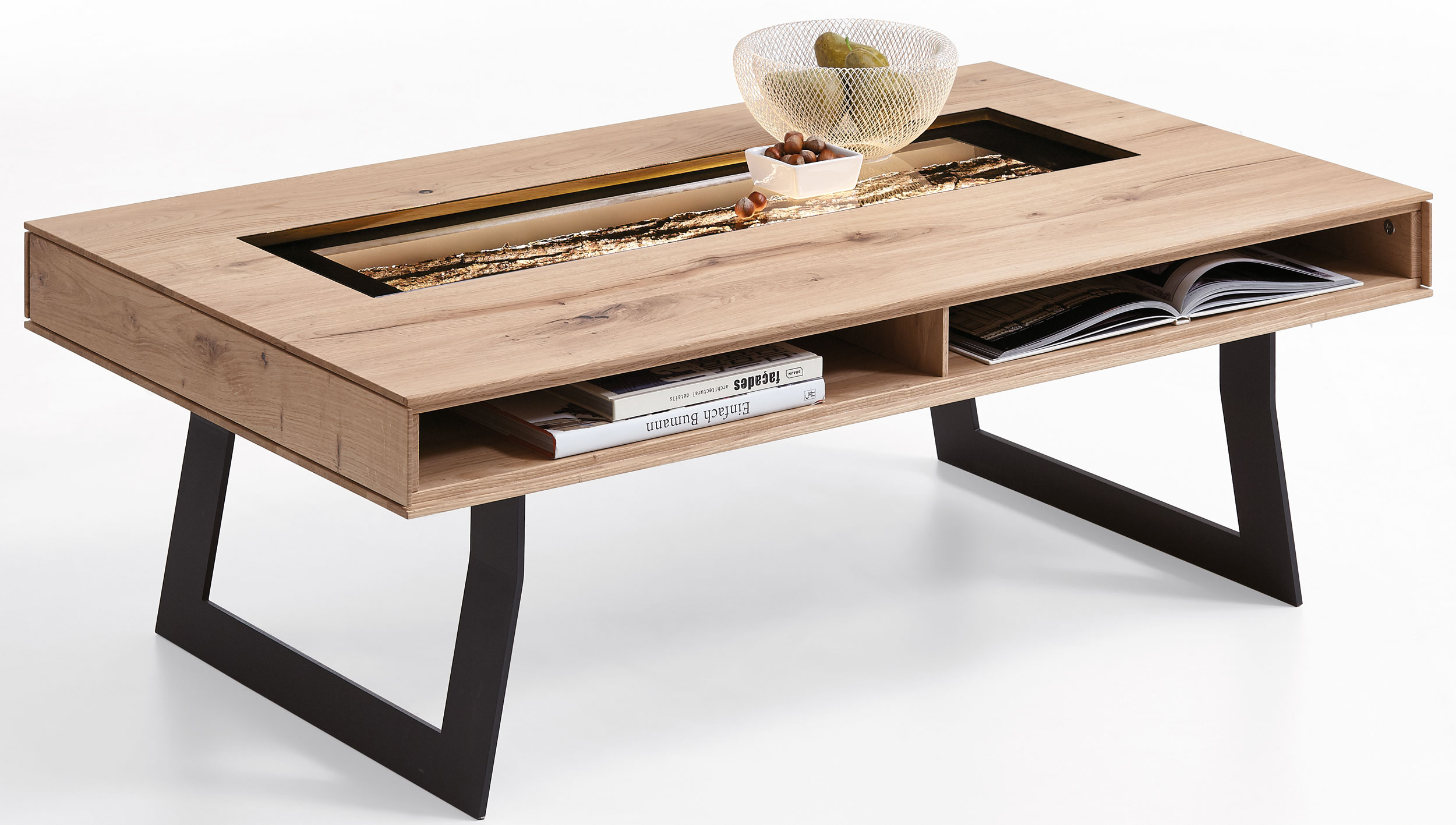 Hartmann runa massivholz couchtisch mit glasplatte for Wohnzimmertisch sale