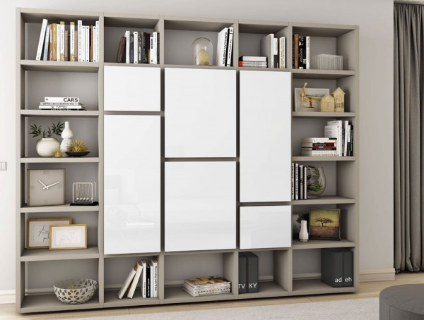 Toro Bücherregal mit Türen beige Lack / weiß Hochglanz