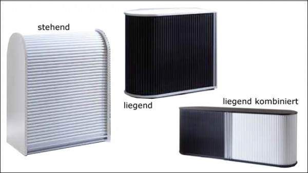 Dancer Sideboard Rolladen Rollladenschrank schwarz weiß silber